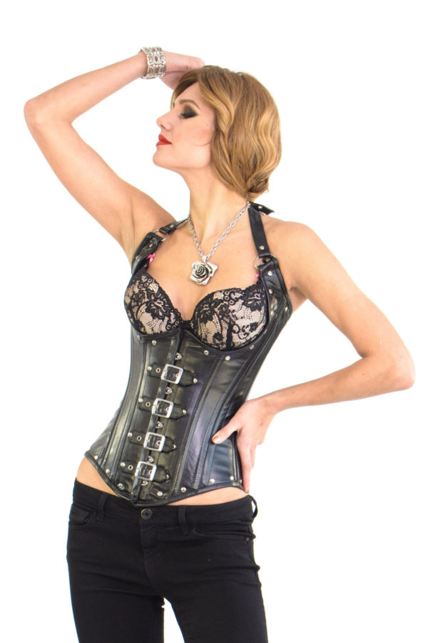 Cupless Black Leather Corset