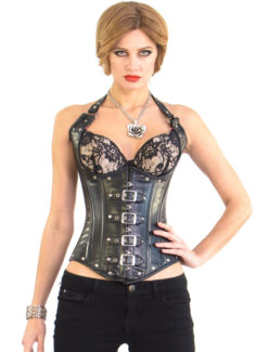 Shane Cupless Black Leather Corset