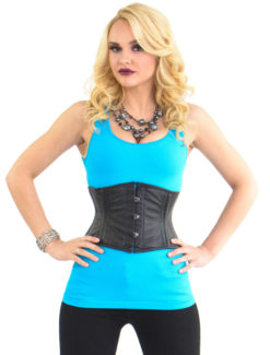 Bella Black Leather Underbust Corset