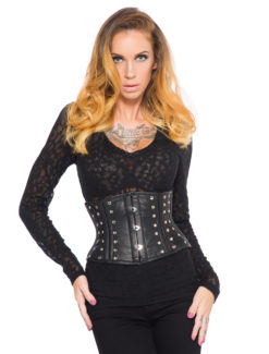 Black Leather Corset with Studs