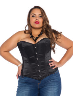 Black Satin Plus Size Corset