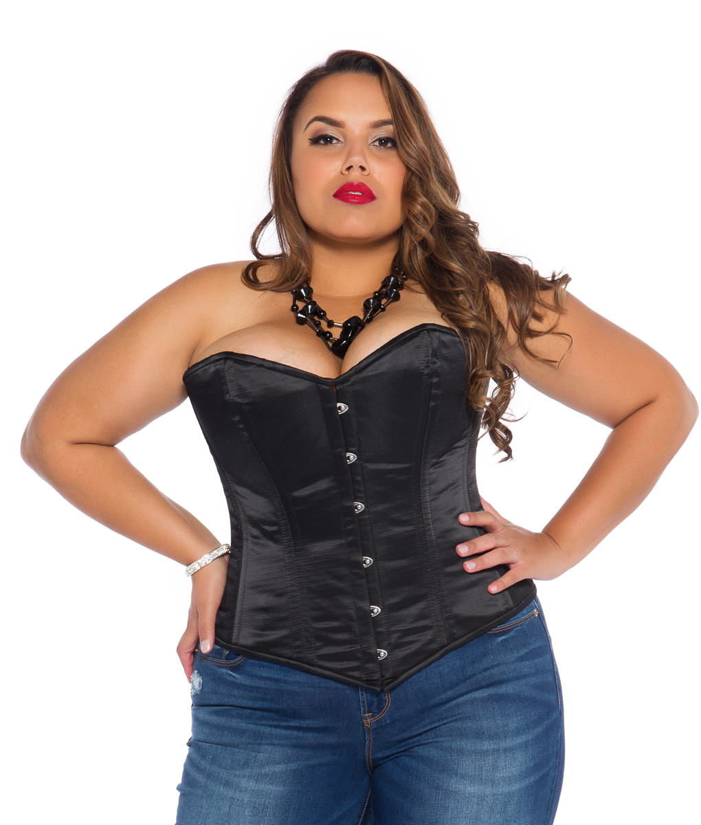 bb0e8eebf1 Jenna Black Satin Plus Size Corset (Overbust) with Steel Bones
