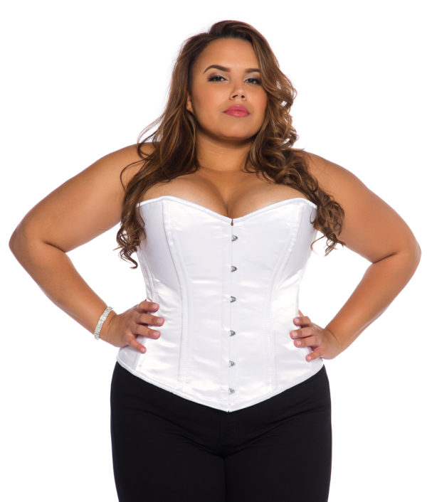 White Satin Plus Size Corset