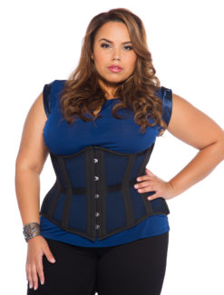 Jolie Black Mesh Plus Size Corset (Steel Boned)