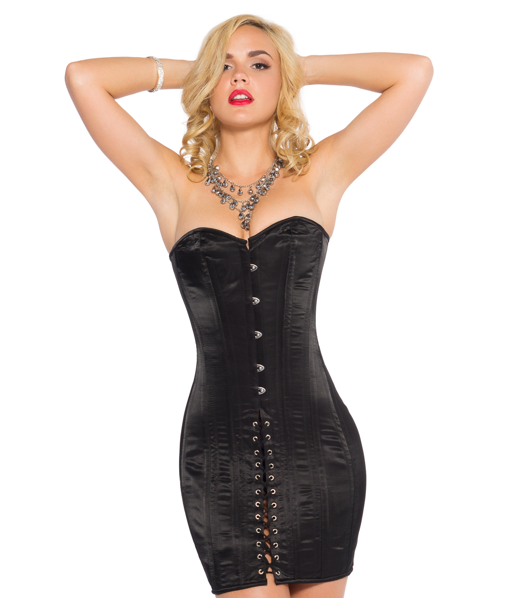56e00e17a0 Black Satin Corset Dress