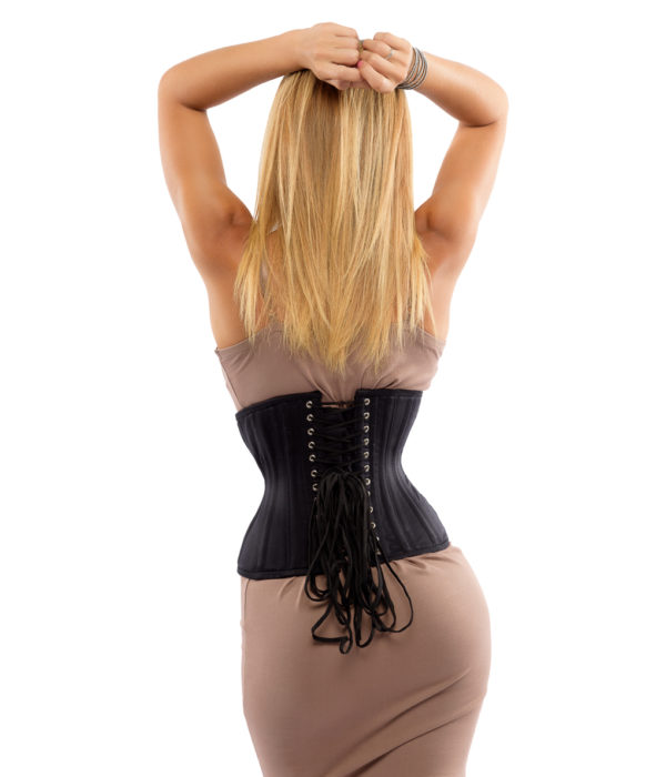 Jolie Short Black Cotton Corset (Underbust Steel Boned)